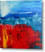 Red Flowers Blue Mountains - Abstract Landscape Metal Print