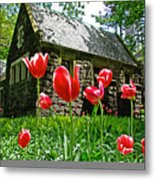 Red Flowers In Central Park Metal Print