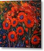 Red Flowers In The Night Metal Print