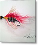 Red Fly Tie Metal Print