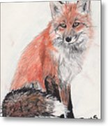 Red Fox In Snow Metal Print by Marqueta Graham