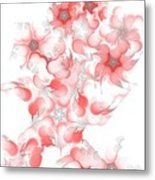 Red Fractal Floral Pattern Metal Print