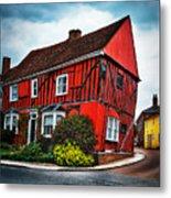 Red Frame House In Lavenham, England. Metal Print