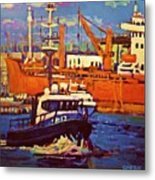 Red Freighter Metal Print
