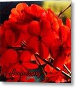 Red Geranium Anniversary Greeting Metal Print