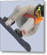Red Gerard Snowboarding Gold Metal Print