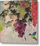 Red Grapes And Blue Birds Metal Print