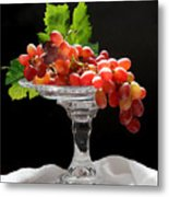 Red Grapes On Glass Dish Metal Print
