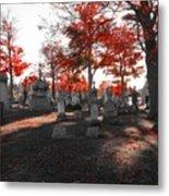 Red Fall Graveyard Metal Print