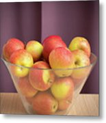 Red Green Apples In A Glass Bowl Metal Print