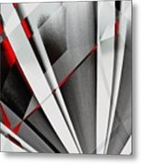 Red-grey Abstractum Metal Print