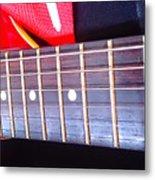 Red Guitar Neck Metal Print
