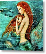 Red Hair Mermaid Mother And Child Metal Print