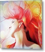 Red Hair With Bubbles Metal Print