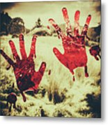 Red Handprints On Glass Of Windows Metal Print