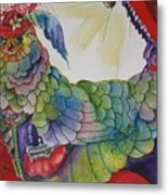 Red Hat Chick With Purse Metal Print