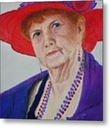 Red-hat Lady Metal Print