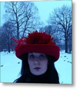 Red Hat On A Blue Day Metal Print
