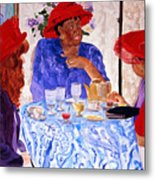 Red Hatters Chatter Metal Print