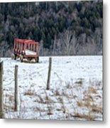 Red Hay Wagon Metal Print
