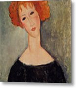 Red Head Metal Print by Amedeo Modigliani