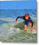 Red Headed Surfer Metal Print