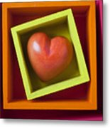 Red Heart In Box Metal Print