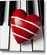 Red Heart With Stripes Metal Print