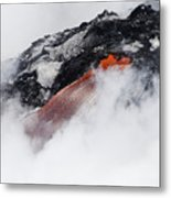 Red Hot Lava And Steam Metal Print
