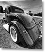 Red Hot Rod In Black And White Metal Print