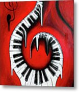 Red Hot - Swirling Piano Keys - Music In Motion Metal Print