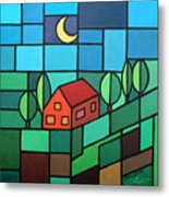 Red House Amidst The Greenery Metal Print