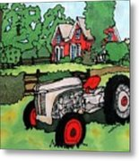 Red House And Tractor Metal Print