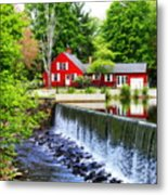 Red House By The Falls Metal Print