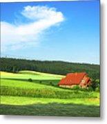 Red House In Field - Amshausen, Germany Metal Print