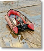 Red Inflatable Boat With Motor In Musselburgh Haven. Metal Print