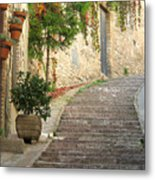 Red Ivy And Steps In Assisi Italy Metal Print