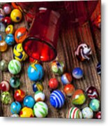 Red Jar With Marbles Metal Print by Garry Gay