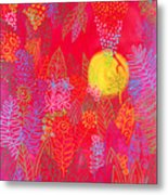Red Jungle Passionate Sun Metal Print