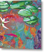 Red Koi In Green Disguise Metal Print