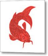 Red Koi Nishikigoi Carp Fish Drawing Metal Print