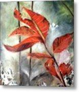 Red Leaves In Morning Mist Metal Print