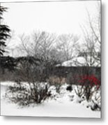 Red Leaves On White Snow Metal Print
