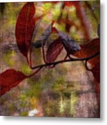 Red Leaves Painted Effect Metal Print