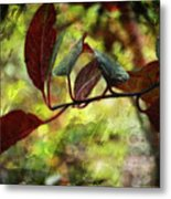 Red Leaves With Texture Metal Print