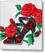 Red Leopard Roses Metal Print