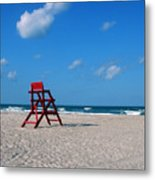 Red Life Guard Chair Metal Print