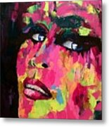 Red Light Offer, Palette Knife Painting Metal Print
