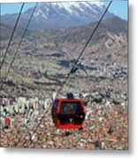 Red Line Cable Car Cabin And Mt Illimani Bolivia Metal Print