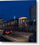 Red Line Train Rumbling Over The Longfellow Bridge In Boston Ma Metal Print